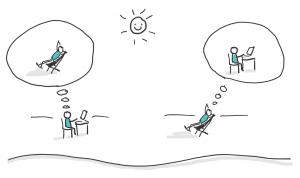 Wenn die Sonne strahlt, aber die Arbeit im Homeoffice noch nicht getan ist, kann es zu einem Dilemma kommen. Entweder man sitzt in der Sonne und denkt an Arbeit oder man arbeitet und denkt an die Sonne.